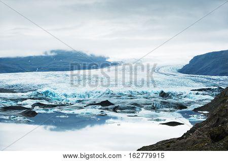 Vatnajokull Glacier, Hoffellsjokull Glacier Lake, Iceland.