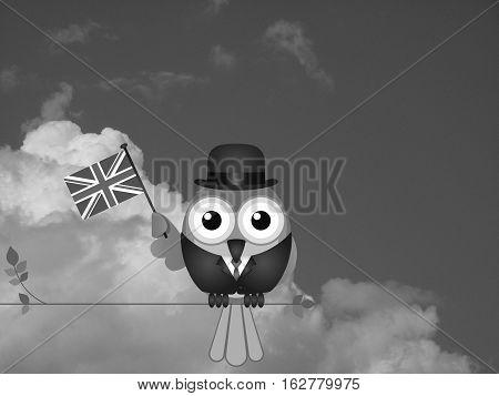 Monochrome businessman flying the flag for British Business against a cloudy sky