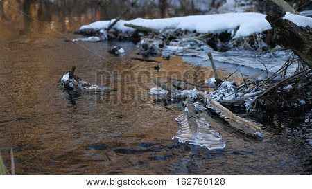 Forest river flowing beautiful frozen ice on dry branch swinging, nature sunlight, sun glare landscape