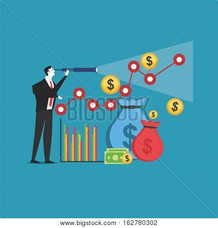 Business Prediction. Business Growth Concept. Target Income.