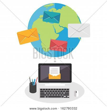 Email concept. Cloud services. Broadcast messages .