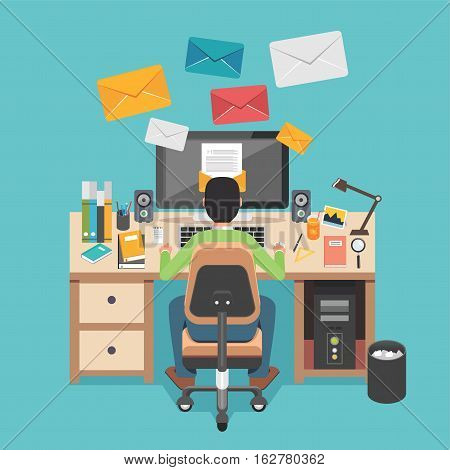 Person working on desktop. Person sending or receiving email.