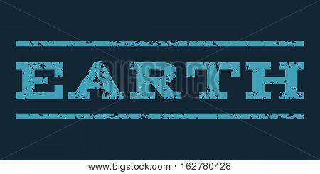 Earth watermark stamp. Text tag between horizontal parallel lines with grunge design style. Rubber seal stamp with dirty texture. Vector blue color ink imprint on a dark blue background.