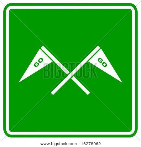 gehen Jubel Flaggen-Zeichen