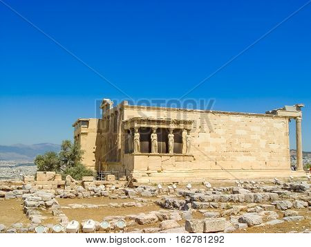 The Antique Temple Of Caryatid Marble Columns Of The Erechtheion