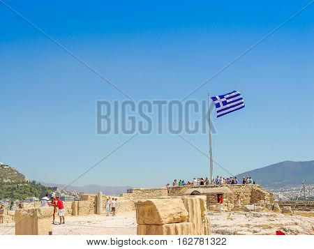 Greece Flag At The Parthenon Temple At The Acropoli