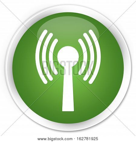 Wlan Network Icon Premium Soft Green Round Button