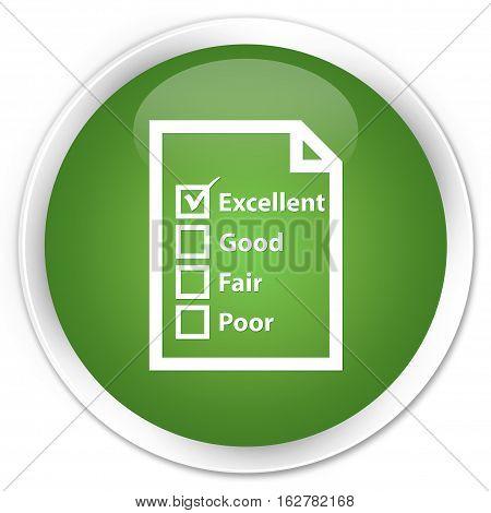 Questionnaire Icon Premium Soft Green Round Button