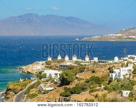 Five Decorative Windmills A Popular Tourist Destination In Mykonos