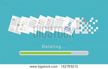 Delete files or delete documents process illustration.
