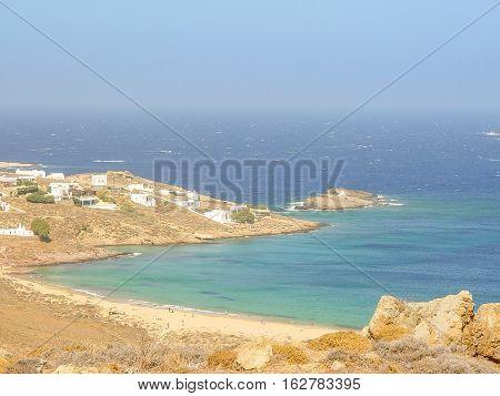 Ftelia Beach Under The Blue Sky In Mykonos, Greece
