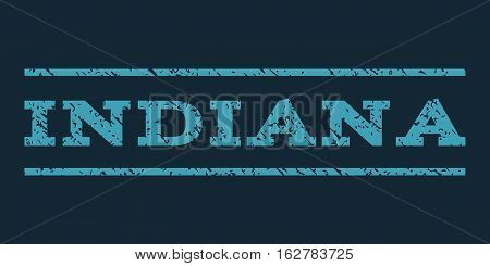 Indiana watermark stamp. Text tag between horizontal parallel lines with grunge design style. Rubber seal stamp with dirty texture. Vector blue color ink imprint on a dark blue background.