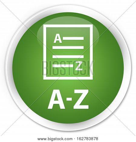 A-z (list Page Icon) Premium Soft Green Round Button
