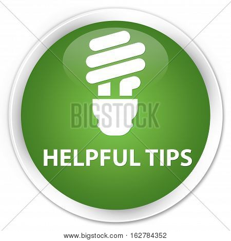 Helpful Tips (bulb Icon) Premium Soft Green Round Button