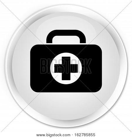 First Aid Kit Bag Icon Premium White Round Button