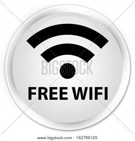 Free Wifi Premium White Round Button