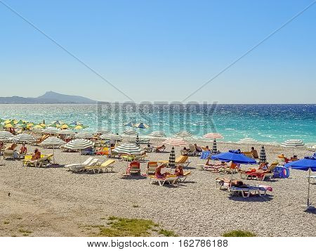 The Pebble Beach In Rhodes Island In Greece