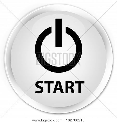 Start (power Icon) Premium White Round Button