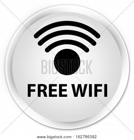 Free Wifi Premium White Round Button