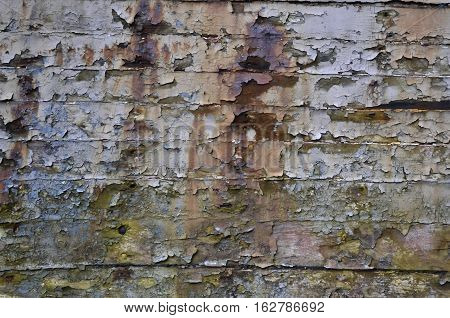Multicoloured pealing paint on old wood with rust and nails, Background, Texture