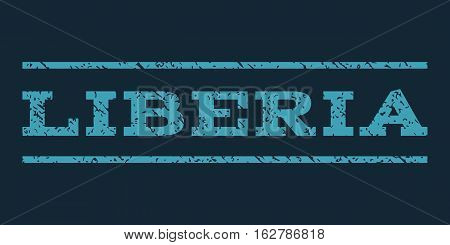 Liberia watermark stamp. Text caption between horizontal parallel lines with grunge design style. Rubber seal stamp with dust texture. Vector blue color ink imprint on a dark blue background.
