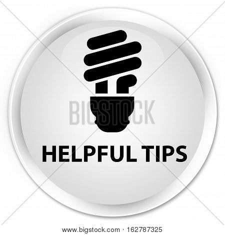 Helpful Tips (bulb Icon) Premium White Round Button