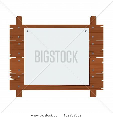 Wooden sign isolated on white background. Flat color style design vector illustration