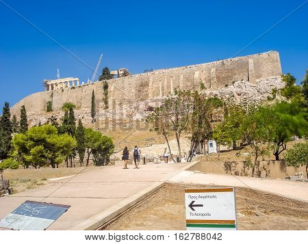 The Parthenon Temple Over The Acropolis Hill