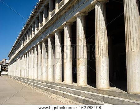 Marble Columns In Atalo Stoa In Agora At Athens