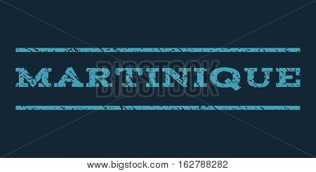 Martinique watermark stamp. Text tag between horizontal parallel lines with grunge design style. Rubber seal stamp with dust texture. Vector blue color ink imprint on a dark blue background.