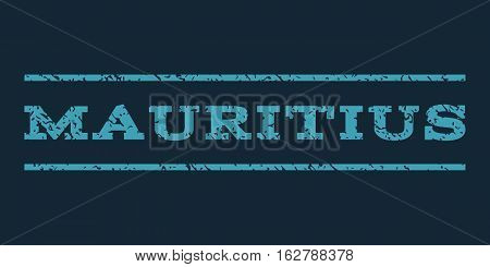 Mauritius watermark stamp. Text caption between horizontal parallel lines with grunge design style. Rubber seal stamp with dust texture. Vector blue color ink imprint on a dark blue background.