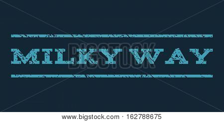Milky Way watermark stamp. Text tag between horizontal parallel lines with grunge design style. Rubber seal stamp with dirty texture. Vector blue color ink imprint on a dark blue background.
