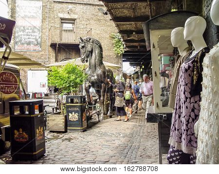 Camden Lock Bridge. A Famous Alternative Culture Shops