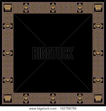 Set of seamless vintage Greek ornament. Golden pattern on a black background.