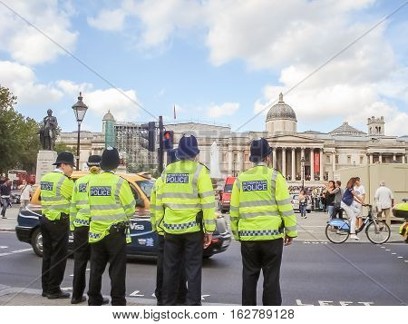 Police At The National Gallery At Trafalgar Square