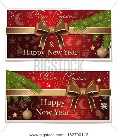 Christmas banner set. Merry Christmas and Happy New Year. Red christmassy cards with fir branches, Christmas decorations, gold ribbon, bows and greeting inscription. Vector illustration