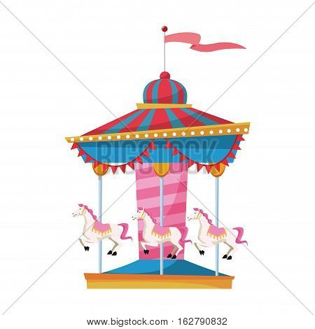 Carousel icon. Carnival fair circus entertainment and festival theme. Isolated design. Vector illustration