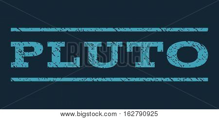 Pluto watermark stamp. Text tag between horizontal parallel lines with grunge design style. Rubber seal stamp with dust texture. Vector blue color ink imprint on a dark blue background.