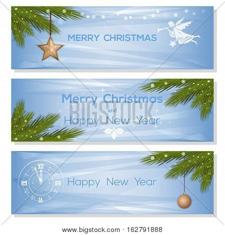 Banner set for Christmas and New Year. Set light blue vector background with fir branches, Christmas balls, Christmas angel and antique clock. Merry Christmas and Happy New Year. Vector greeting cards