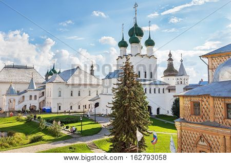 ROSTOV RUSSIA - SEPTEMBER 03 2016: Rostov Kremlin. Rostov is one of the oldest town in the Russia and tourist center of the Golden Ring