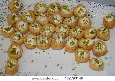 Lot Of Choux With Pistachio In Mascarpone Diner Party