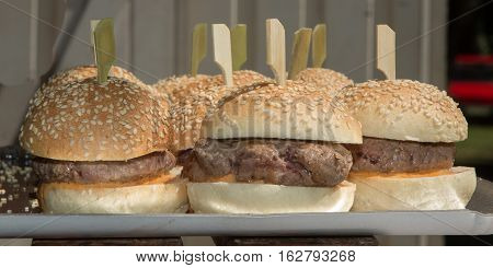 Mini Hamburger Or Cheese Burgers Like Toast For Finger Eating In Party