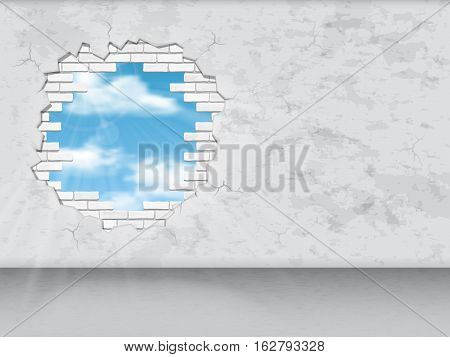 Hole in white brick wall through which one can see the sky. Conceptual vector illustration.