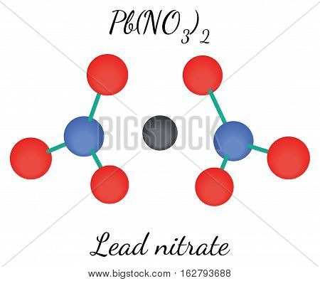 Lead nitrate PbN2O6molecule isolated on white in vector