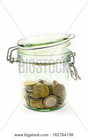Russian metal coins and glass jar for storage