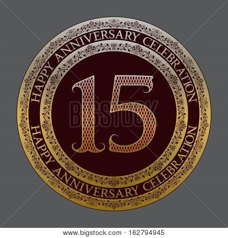 Fifteenth happy anniversary celebration logo symbol. Golden maroon medal emblem in vintage style.