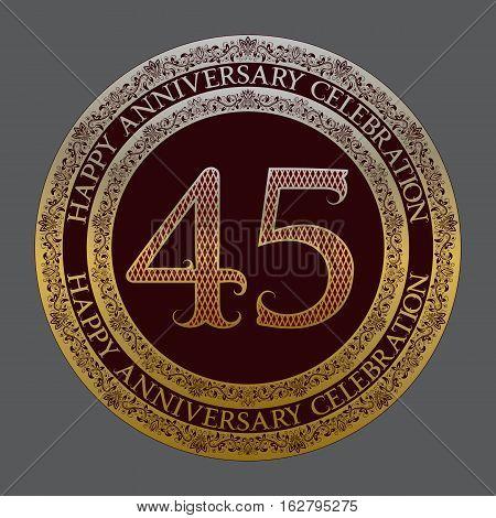 Forty fifth anniversary celebration logo symbol. Golden maroon medal emblem in vintage style.