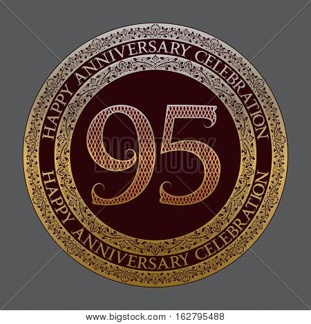 Ninety fifth anniversary celebration logo symbol. Golden maroon medal emblem in vintage style.