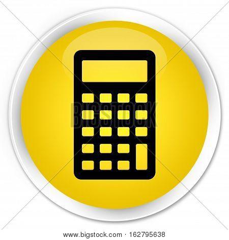 Calculator Icon Premium Yellow Round Button