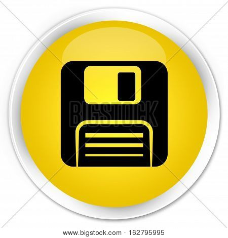 Floppy Disk Icon Premium Yellow Round Button